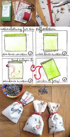 Lavendelsäckchen aus Stoff selber nähen Anleitung