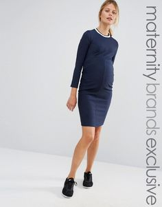 a49b9c639c65a Bluebelle Maternity Paneled Ribbed Bodycon Dress With Contrast Trim Maternity  Tops, Maternity Wear, Maternity
