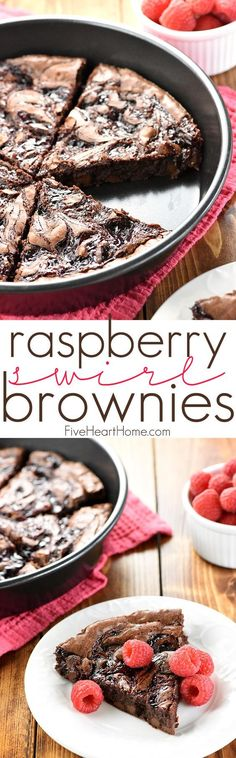 Raspberry Swirl Brownies ~ fudgy brownies are studded with chocolate chips, topped with raspberry preserves, and sliced into wedges in this rich, decadent dessert, perfect for Valentine's Day or as an anytime sweet treat! | http://FiveHeartHome.com