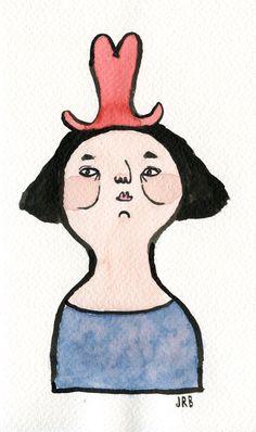 Original illustration // The Hat Lady by Joana Rosa Bragança on Etsy