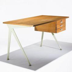 jean prouve compas desk wooden drawers