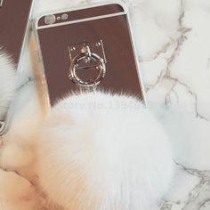 Luxury Metal Rope Mirror Tassel Fake Rabbit Fur Ball For iPhone