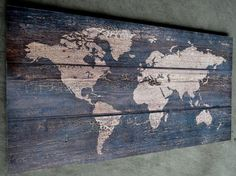 Holzbild Wandbild Bild Weltkarte Holz Vintage Shabby Chic 100 x 50 Weltkarte alt