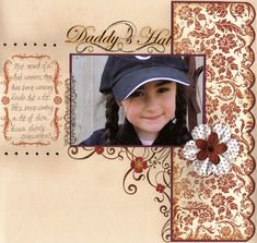 Daddy's Hat Page...with plain & floral papers...Scrapboo....