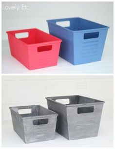 Like the idea to paint plastic tubs.  To make them look the same.  I love spray paint!