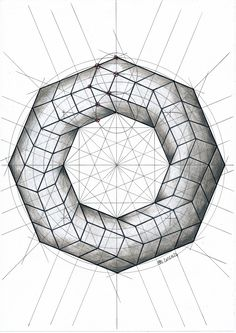 #polyhedra #solid #geometry #symmetry #mathart #regolo54 #square #rombo #circle #handmade #structure #Escher #pencil #ink