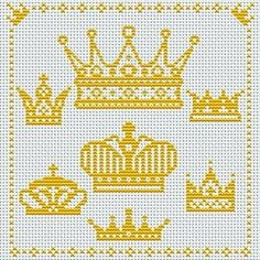 Risultati immagini per coroa em ponto cruz Cross Stitch For Kids, Simple Cross Stitch, Cross Stitch Baby, Cross Stitch Charts, Cross Stitch Patterns, Cross Stitching, Cross Stitch Embroidery, Cross Stitch Pictures, Embroidery Patterns Free