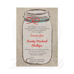 Rustic Burlap & Mason Jar Wedding Invitation from Zazzle.com