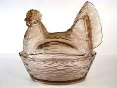 Zabkowice Light Amethyst Glass Polish Chicken Hen on Nest Shirley Smith