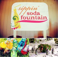 Soda Fountain, Table Setting, My Jones Personalized Bottles, Wedding Favors
