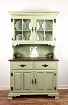 """This kitchen hutch turned out so pretty! This piece was brought to us by a client and made over using General Finishes Bayberry Green Chalk Style Paint and glazed in Antique White Milk Paint and Van Green Furniture, Furniture Layout, Paint Furniture, Cheap Furniture, Kitchen Furniture, Furniture Makeover, Furniture Decor, Furniture Design, Furniture Online"