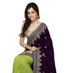 Violet and Shaded Green Velvet and Faux Georgette Saree with Blouse