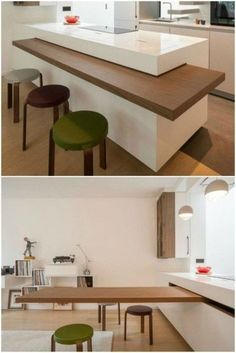 The dining table is cleverly hidden in the countertop of this chic kitchen - Table Design Home Decor Kitchen, Kitchen Furniture, Kitchen Interior, Home Kitchens, Kitchen Dining, Furniture Layout, Furniture Stores, Space Saving Furniture, Furniture Nyc