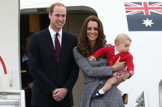 Prince George of Cambridge, Catherine, Duchess of Cambridge and Prince William, Duke of Cambridge, board their plane as they depart Canberra...