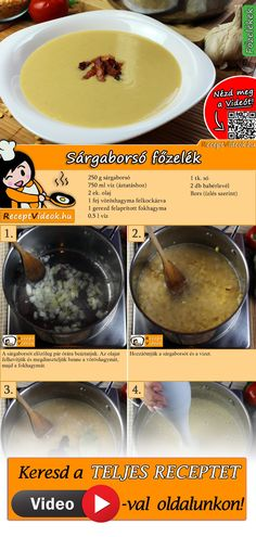 Sárgaborsó főzelék Lentil Soup Recipes, Veggie Recipes, Cooking Recipes, Cooking Pork Tenderloin, Cooking Courses, Hungarian Recipes, Dessert Drinks, Breakfast Time, Other Recipes