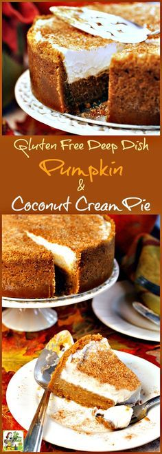 Gluten Free Deep Dish Pumpkin & Coconut Cream Pie 🎃 Not only is this pumpkin dessert recipe gluten free and dairy free, but it's easy to make and transport to a potluck party, too! Coconut Dessert, Oreo Dessert, Pumpkin Dessert, Gluten Free Sweets, Gluten Free Baking, Dairy Free Recipes, Gluten Free Potluck, Gluten Free Pie, Dairy Free Nut Free Cheesecake