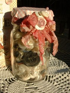 decorated jar of buttons...