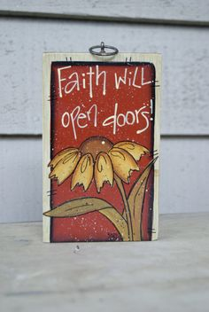 Hand Painted Faith Wood Sign Spring Decor by Ramshackles on Etsy, $8.25