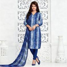 Navy Blue - Grey Printed Salwar Suit