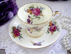 Aynsley Corset Tea Cup and Saucer, Pale Yellow Cinched Teacup Duo, Pink Rose…