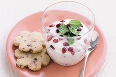 pomegranate yogurt dessert with orange flower water (or maybe rose blossom water)