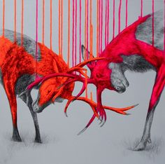 Wild-times-Sacrylic-spray-paint-and-pencil-on-linen-600x60x4cm-092012 (1) Louise McNaught is a contemporary artist whom mixes painting and illustration