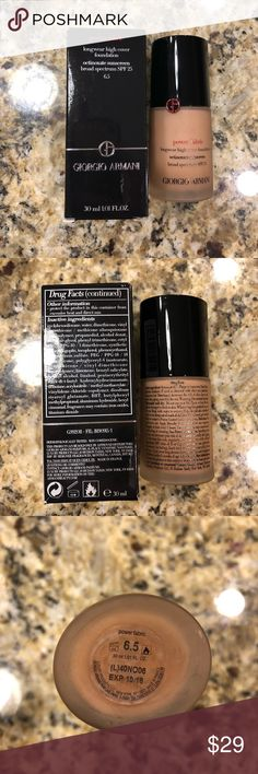 Giorgio Armani Power Fabric Foundation, shade 6.5 Giorgio Armani Power Fabric Foundation with SPF 25. Shade 6.5, full description in screenshots from Sephora, where purchased. Only used 1-2 times, shade wasn't quite right for my skin tone. Comes in original box pictured. Giorgio Armani Makeup Foundation