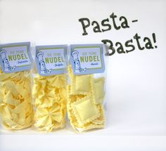 Dreimal Pasta, bitte! Tagliatelle, Farfalle und Ravioli – alle aus Filz und alle zum Nachmachen. Verpackt in kleinen Zellophantütchen mit ...