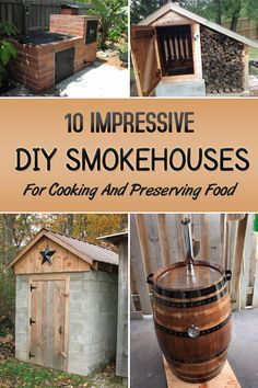 Woodworking Program Here are 10 impressive DIY smokehouse ideas to smoke and BBQ your wild game, steaks and fish all year round. - Here are 10 impressive DIY smokehouse ideas to smoke and BBQ your wild game, steaks and fish all year round. Diy Smoker, Homemade Smoker, Backyard Projects, Outdoor Projects, Diy Projects, Woodworking Plans, Woodworking Projects, Smoker Cooking, Food Smoker