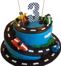 Race Car Fondant Edible Birthday Cake Topper   by allsugarheart