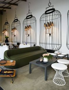 ***LOVE THE BIRDCAGE LIGHT LOOK! Would put it with classier BETTER furniture!***  Modern and classic restaurant decor | Interior Design and Home Decor