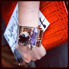 Channeling some positive energy! An #ameythyst #crystal shard on a #Mawi cuff at #pfw #fw13