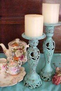 Turquoise pillar candle holders - Old treasures