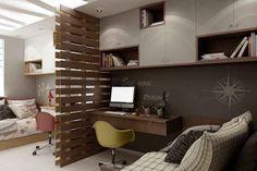 Фото дизайн комнаты 16 м, натуральный кирпич в интерьере