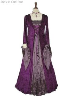 Oh my word, I love this dress. Possibly something to think about for later in the story...    Google Image Result for http://www.roxx-online.com/roxxOnline/images/productPhotos/Deep%20purple%20taffeta%20&%20velvet%20medieval%20dress%203472.JPG