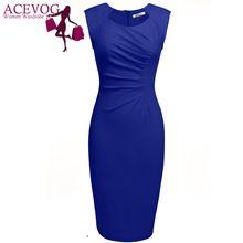 ACEVOG Женщины Сексуальные Vestidos 2017 Летом Случайные Элегантные Платья Cap Рукавом Плиссированные Твердые Тонкий Карандаш Офис Леди Dress(China (Mainland))