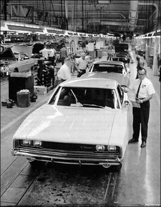 '68 Dodge Charger in the assembly line back in the day-http://mrimpalasautoparts.com