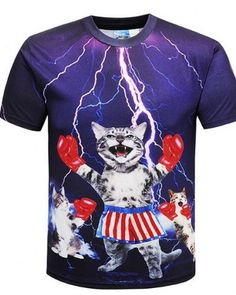 9dc285ce16fb lightning boxing cat t shirt mens plus size clothing