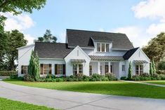 White Brick Houses, White Exterior Houses, Acadian House Plans, Southern House Plans, Metal Awning, Metal Roof, Brick House Plans, Dormer Roof, Clapboard Siding