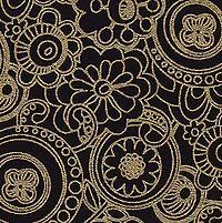 Funkadelic Floral Paper- Gold Pattern on Black Paper