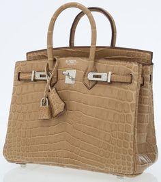 Hermes Special Order Horseshoe 25cm Matte Poussiere Nilo CrocodileBirkin Bag with Palladium Hardware. ...