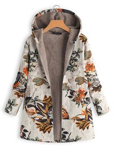Women Faux Fur Hooded Parka Coat Plus Size Floral Print Side Pockets Long Sleeve Warm Vintage Casual Long Coat Outwear Mantel Vintage, Vintage Coat, Vintage Jacket, Winter Jackets Women, Coats For Women, Clothes For Women, Plus Size Coats, Oversized Coat, Parka Coat