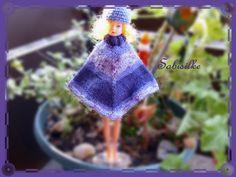 Puppenkleidung - Poncho mit Mütze *** violett *** für Barbie - ein Designerstück…