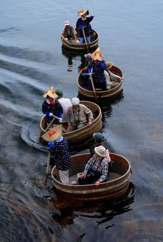 Tarai-bune - traditional fishing boat used to catch abalone, in Sado Island, Japan