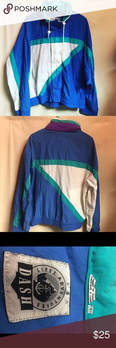 Vintage Women's Large Colorful Windbreaker Jacket Great Vintage Women's Large Multicolored Windbreaker Jacket. Jacket dates back to the early 90's. Tag states it was made by DASH. Great Hipster Jacket. See more of these great vintage jackets on our📷nstagram page at GOLDENBEARGARAGE🐻🐻 Vintage Jackets & Coats Utility Jackets