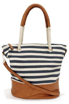 Sail Away with Me Ivory and Navy Blue Striped Tote