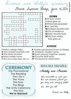 Wedding Program Fans: Custom crossword puzzle Wedding Programs unique wedding programs. $50.00, via Etsy.