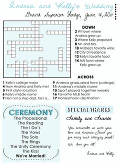 Wedding Program Fans: Custom crossword puzzle Wedding Programs unique wedding programs. $50.00, via Etsy.