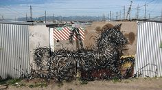 Street art: graffiti form China by DAleast, Graffiti Art, Painted Horses, Stencil, Art Public, Urbane Kunst, Horse Sculpture, Sand Sculpture, Epic Art, Art Design