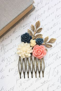 Flower Hair Comb Coral Pink Navy Blue Rose Comb Ivory Cream Chrysanthemum Wedding Hair Accessories Bridesmaids Gifts Made of Honor Hair Comb...